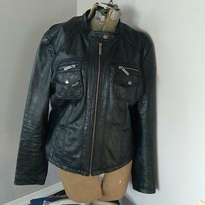 Michael kors leather moto cafe jacket Womans M/L